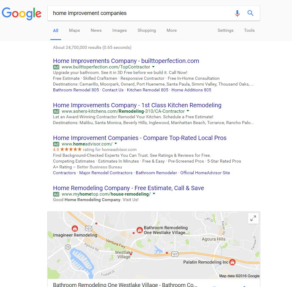 Home improvement companies local Google search