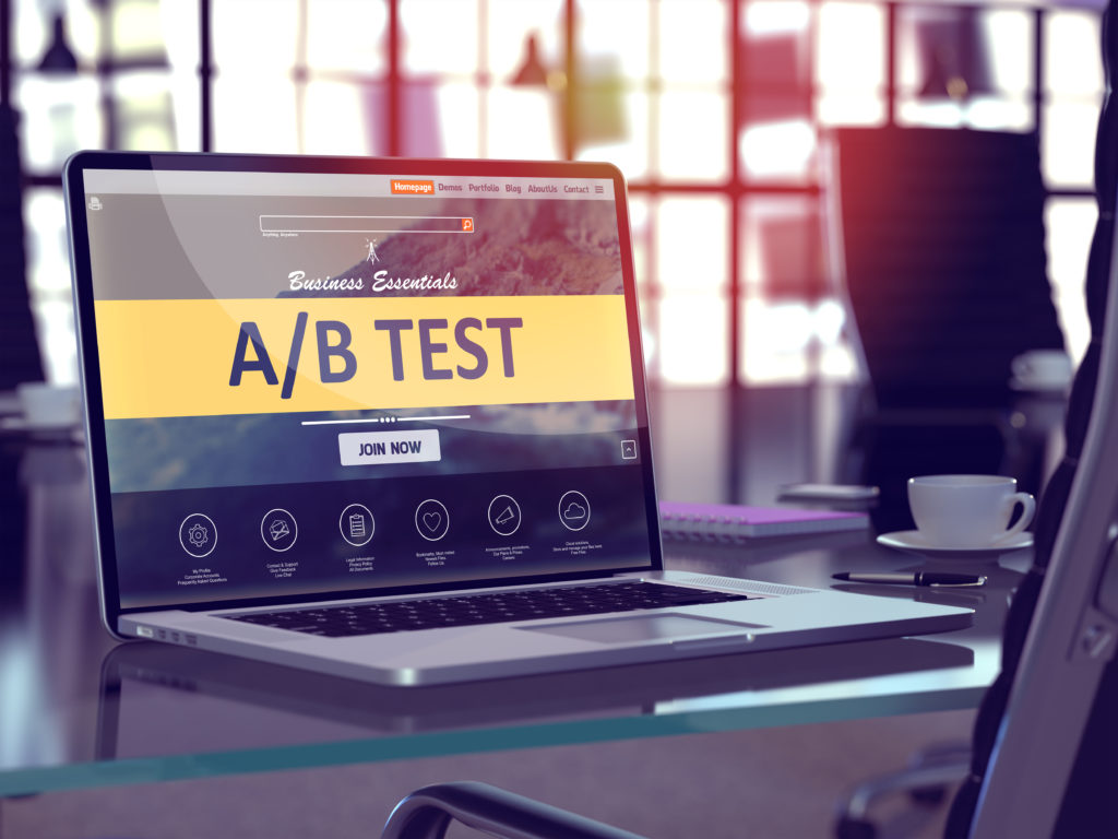 Image of computer AB Test opt-in screen