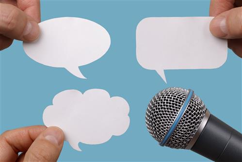 Blank speech bubbles to fill in plus top of microphone