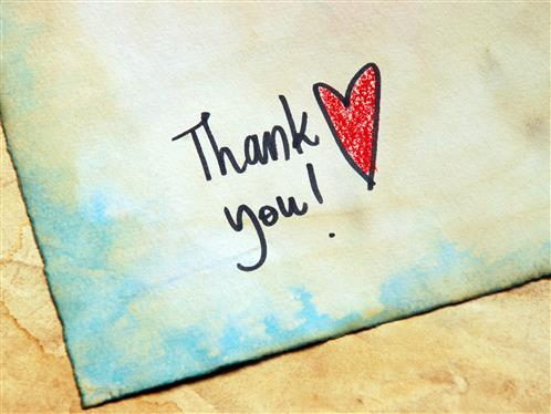 Handwritten Thank You note with red heart