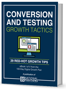 Book Cover for Conversion and Testing Growth Tactics, white and green type on blue background