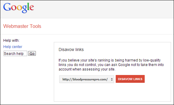 Disavow tool location in Google Webmaster Tools
